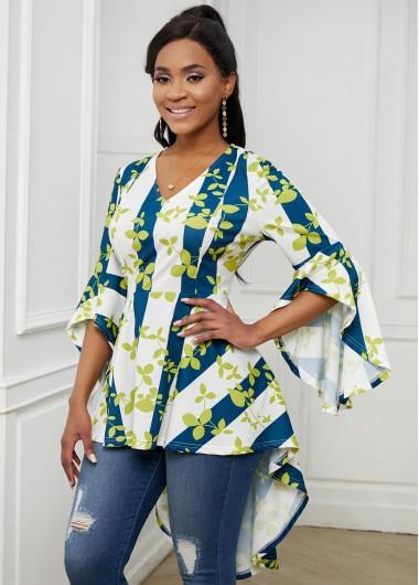 Leaf Print Flare Sleeve V Neck T Shirt - L