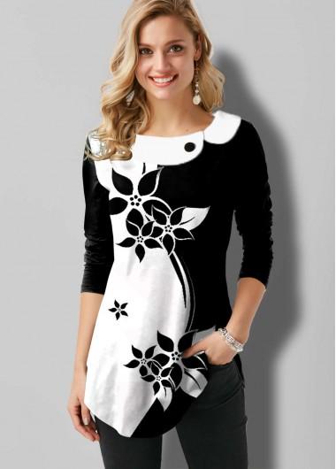 Floral Print Color Block Long Sleeve T Shirt - L