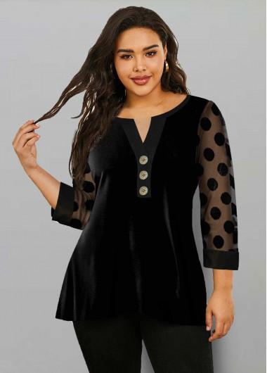 Plus Size Dot Mesh Sleeve Split Neck T Shirt - 1X