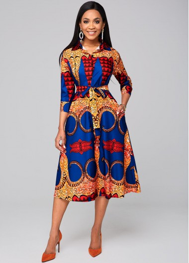 Tribal Print Pocket Belted Turndown Collar Dress - 2XL
