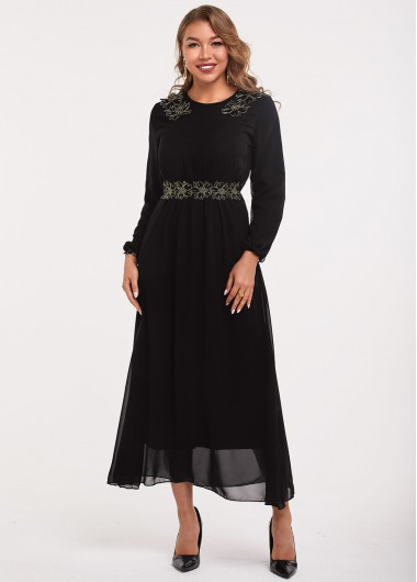 Embroidered Long Sleeve Round Neck Dress - L