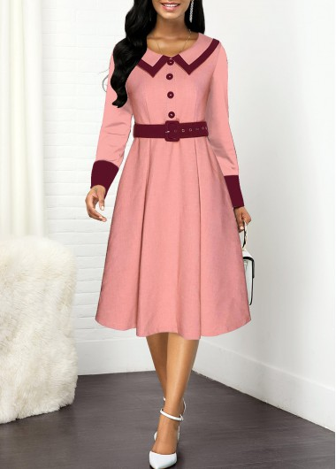 Contrast Buckle Belted Button Front Dress - L