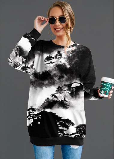 Ink Print Round Neck Long Sleeve Oversize Sweatshirt - L