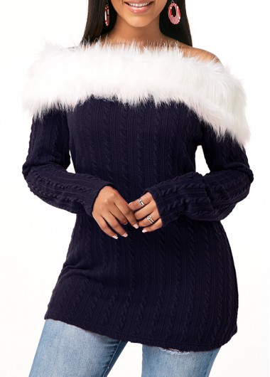 Long Sleeve Fur Collar Twist Detail Tunic Top - L
