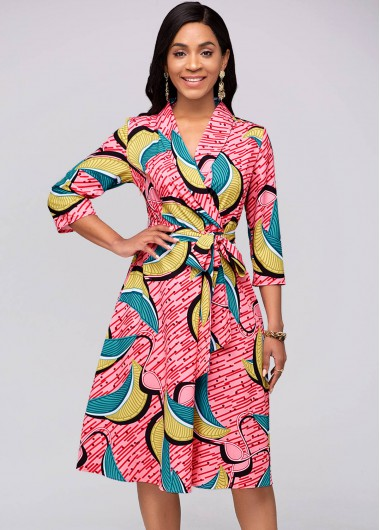 Belted Printed 3/4 Sleeve Red Dress - L