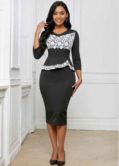 Contrast Lace Stitching 3/4 Sleeve Dress - L