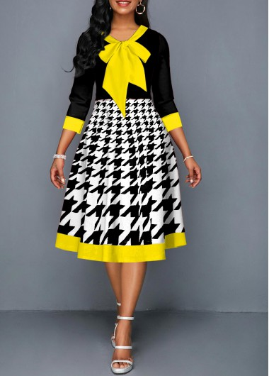 Contrast Piping Houndstooth Print Bow Collar Dress - L