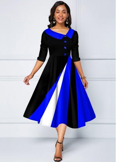 Geometric Print Contrast Decorative Button Dress - L