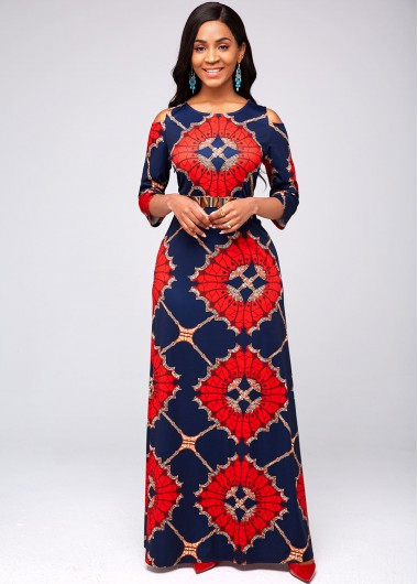 Tribal Print Round Neck Cold Shoulder Dress - L