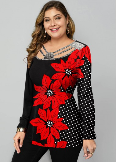 Plus Size Polka Dot and Floral Print T Shirt - 1X