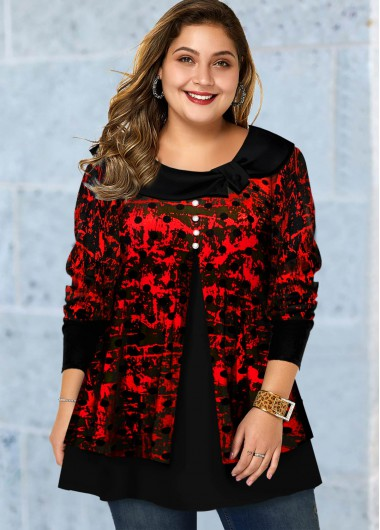 Plus Size Polka Dot Long Sleeve Tunic Top - 1X