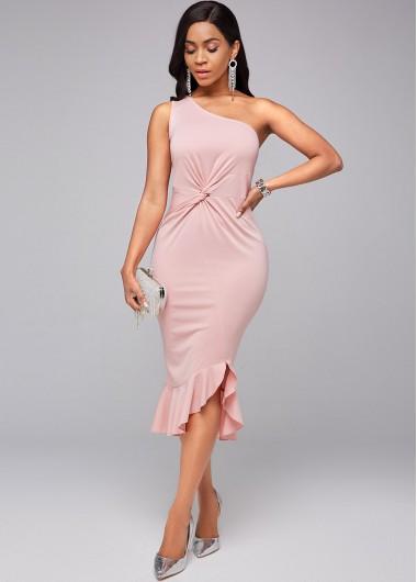 Twist Front Skew Neck Ruffle Hem Dress - L