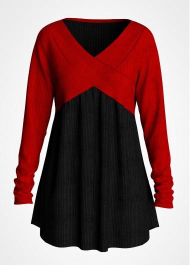 Plus Size V Neck Contrast T Shirt - 1X