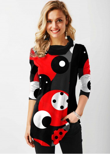 Cowl Neck Polka Dot Contrast Tunic Top - L