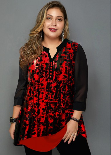 Plus Size Polka Dot Hot Stamping Blouse - 1X