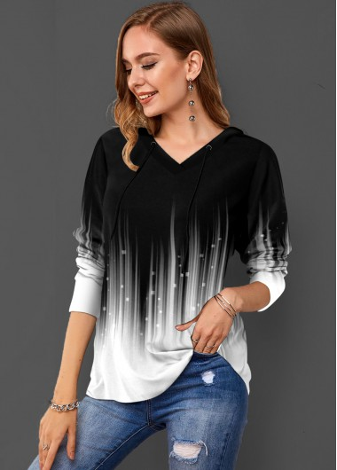 Ombre Drawstring Neck Long Sleeve Hoodie - L