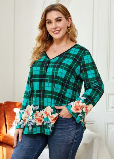Plus Size Cyan Plaid Floral Print Long Sleeve Blouse - 1X