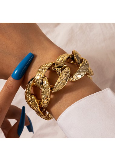 Retro Snake Print Gold Metal Bracelet - One Size