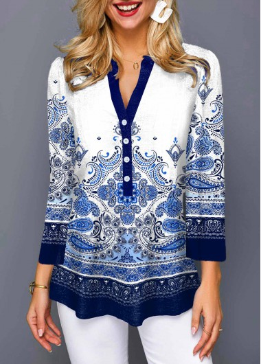 Tribal Print Split Neck Button Detail Blouse - L