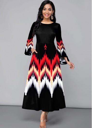 Printed Flare Sleeve Side Pocket Maxi Dress - L