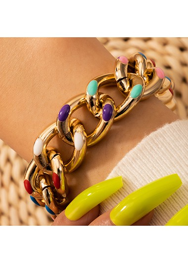 Gold Metal Colorful Dot Design Bracelet - One Size