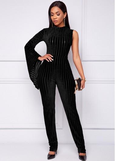 One Sleeve Mock Neck Black Jumpsuit - 2XL