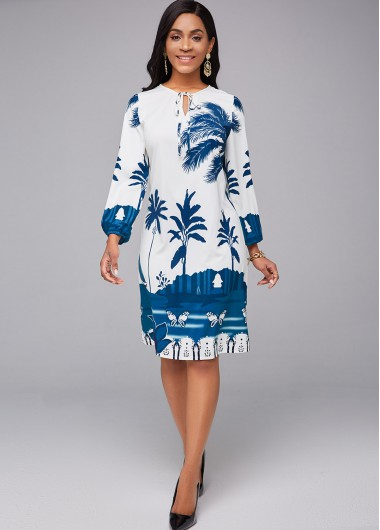 Tropical Print Tie Neck 3/4 Sleeve Dress - L