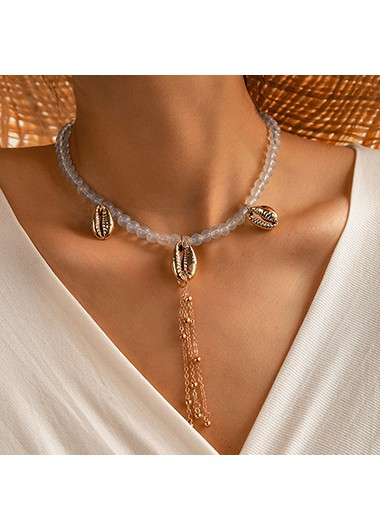 Tassel Conch Design Gold Metal Necklace - One Size