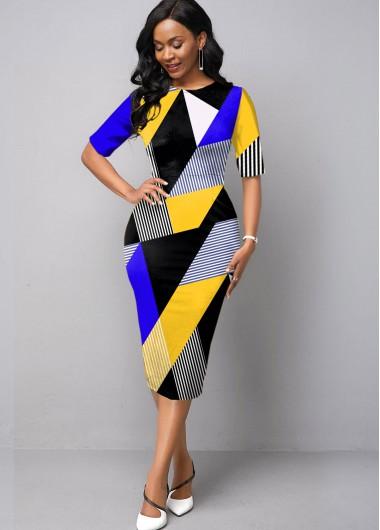 Geometric Print Half Sleeve Round Neck Dress - L