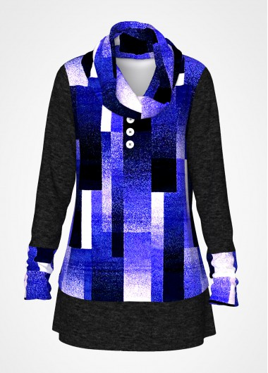 Geometric Print Cowl Neck Long Sleeve Tunic Top - L