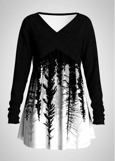 Scape Print V Neck Plus Size T Shirt - 1X