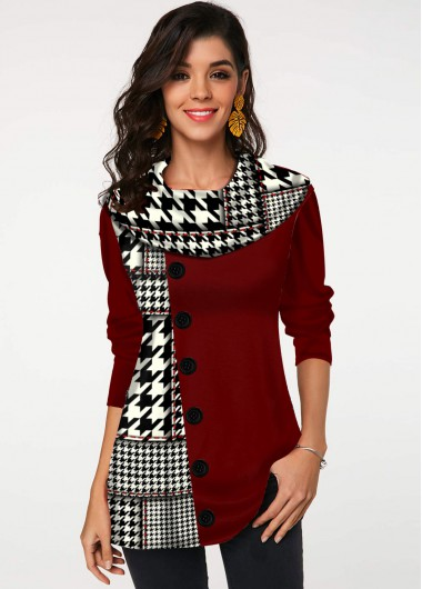 Houndstooth Print Decorative Button Long Sleeve Tunic Top - L