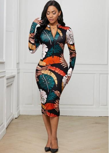 Zip Front Printed Long Sleeve Dress - 2XL