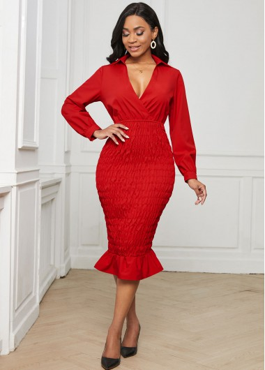 Plunging Neck Long Sleeve Ruffle Hem Dress - 2XL