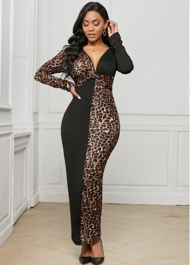 Leopard Plunging Neck Long Sleeve Dress - 2XL