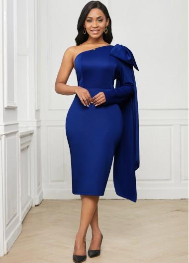 One Shoulder Bowknot Skew Neck Dress - 2XL