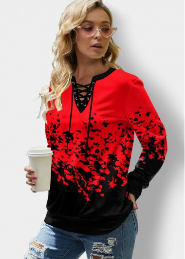 Floral Print Lace Up Long Sleeve Sweatshirt - L