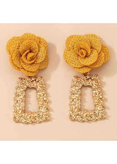 2 X 5.5cm Tridimensional Flower Metal Earring Set - One Size