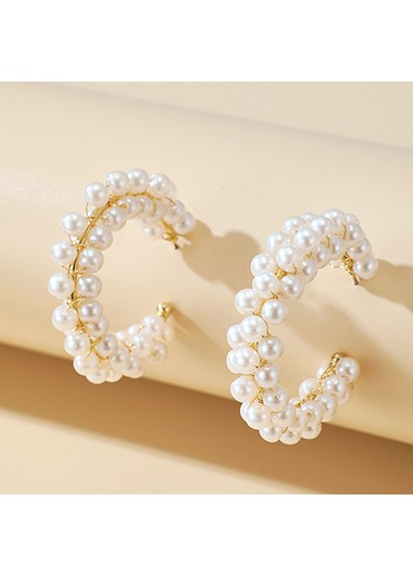 5cm Pearl Design Circular Earring Set - One Size