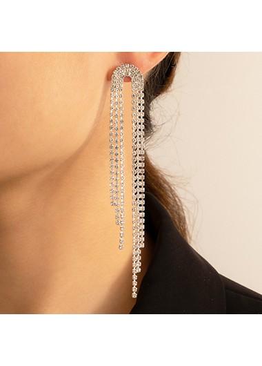 Rhinestone Detail Silver Metal Earring Set - One Size