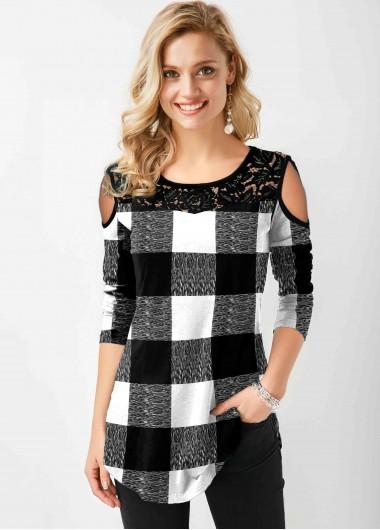 Plaid Cold Shoulder Lace Stitching T Shirt - L
