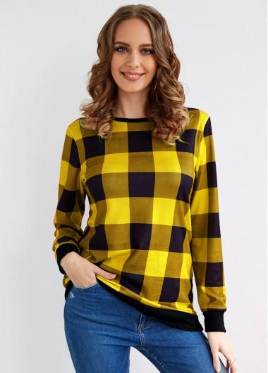 Plaid Round Neck Long Sleeve T Shirt - 2XL