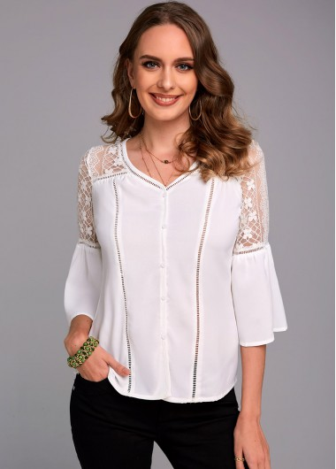 V Neck Button Up Lace Stitching Blouse - L