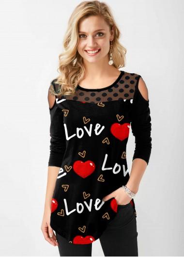 Polka Dot Letter Heart Print Cold Shoulder T Shirt - L