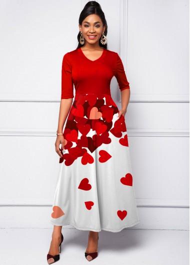 Gradient Heart Print Half Sleeve Dress - L