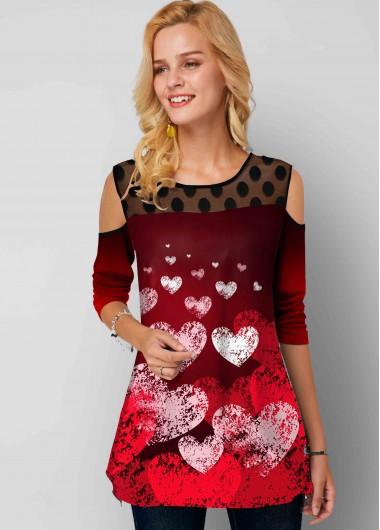 Heart Print Mesh Stitching Polka Dot Cold Shoulder Tunic Top - L