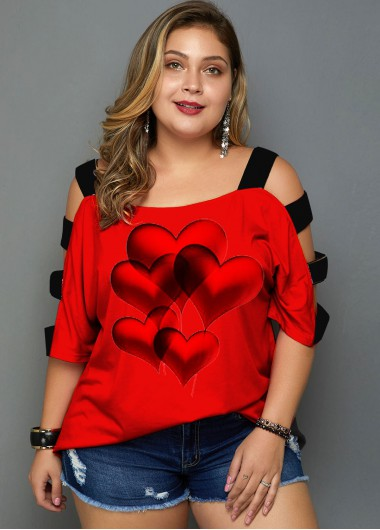 Plus Size Heart Print Ladder Cutout T Shirt - 1X