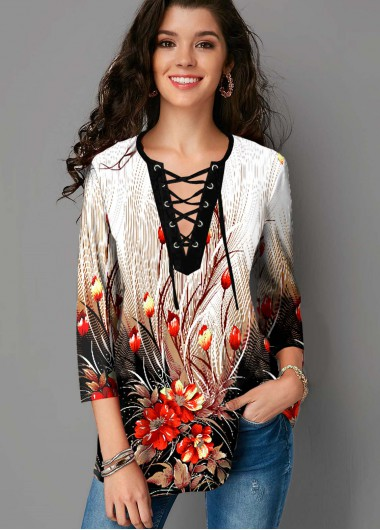 Floral Print Lace Up 3/4 Sleeve Blouse - L