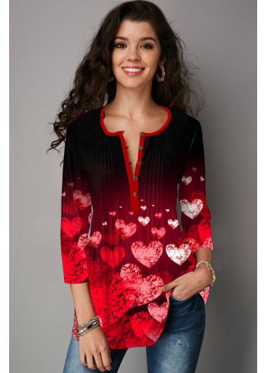 Modlily Heart Print Crinkle Chest Button T Shirt - L