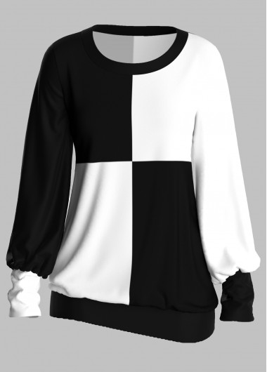 Color Block Round Neck Long Sleeve T Shirt - L